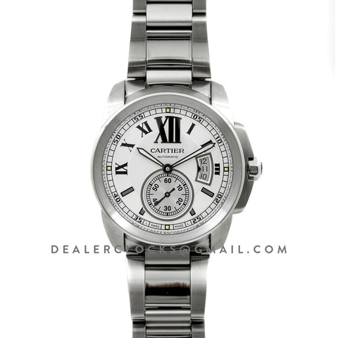 Calibre de Cartier White Dial on Steel Bracelet