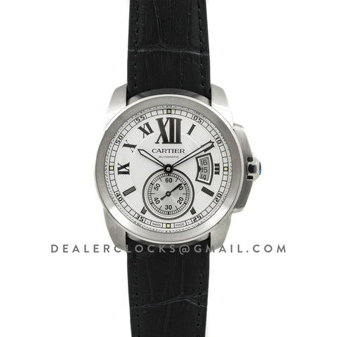Calibre de Cartier White Dial on Black Leather Strap