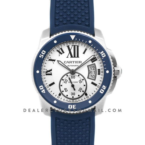 Calibre de Cartier Diver White Dial in Steel on Blue Bezel