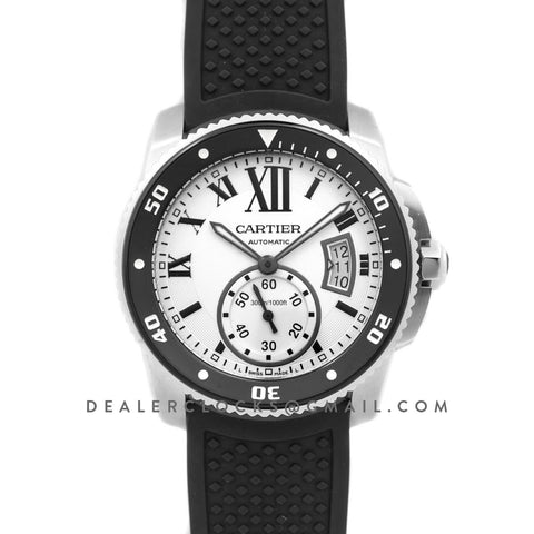 Calibre de Cartier Diver White Dial in Steel on Black Bezel