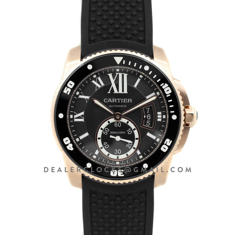 Calibre de Cartier Diver Black Dial in Rose Gold