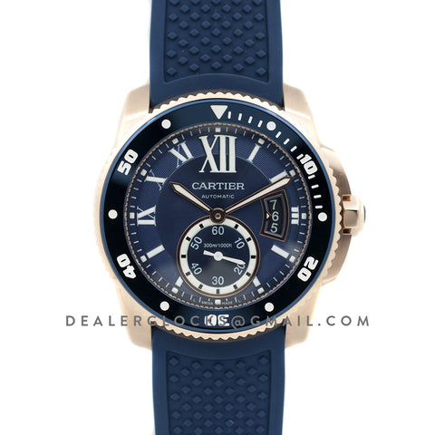 Calibre de Cartier Diver Blue Dial in Rose Gold