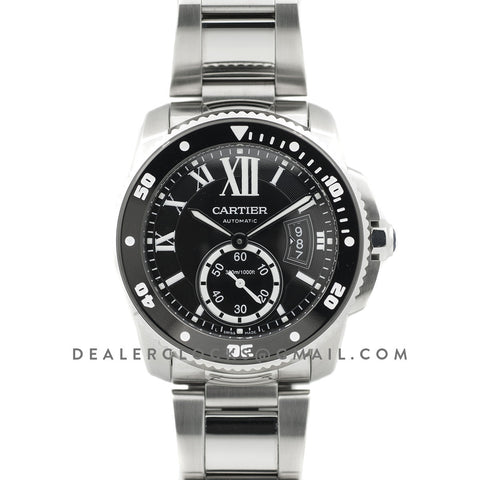 Calibre de Cartier Diver Black Dial in Steel Bracelet