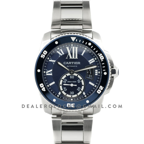 Calibre de Cartier Diver Blue Dial in Steel Bracelet
