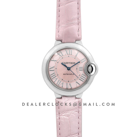 Ballon Bleu de Cartier 33mm Pink Dial in Steel on Pink Leather Strap