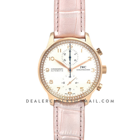 Portugieser Chronograph Automatic White Dial in Rose Gold on Pink Leather Strap