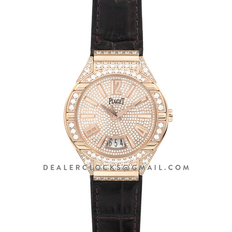 Polo Watch Rose Gold Paved Diamonds