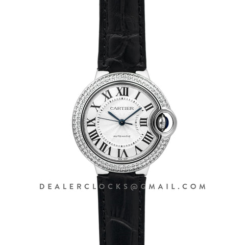 Ballon Bleu De Cartier 36mm Silver Dial with Diamond Bezel in Steel on Black Leather Strap