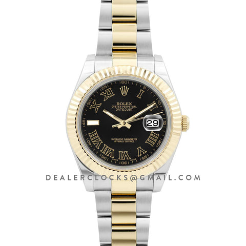 Datejust II 116333 Black Dial in Yellow Gold/Steel with Roman Markers