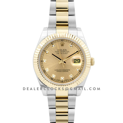 Datejust II 116333 Yellow Gold Dial in Gold/Steel with Diamond Markers on Oyster Bracelet