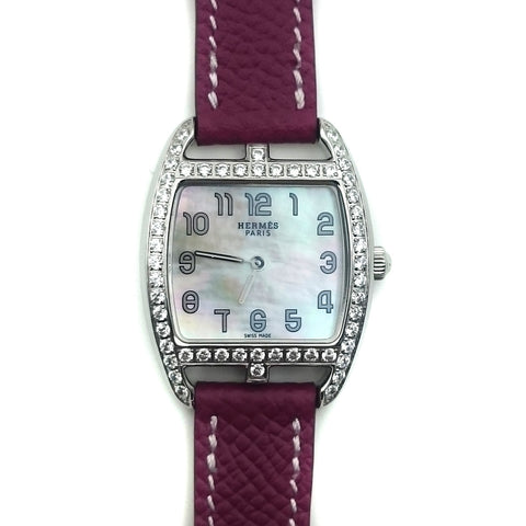 Cape Cod Tonneau Steel with Diamond Bezel on Violet Epsom Leather Strap