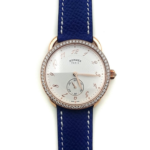 Arceau Petite Rose Gold with Diamond Bezel on Blue Epsom Leather Strap