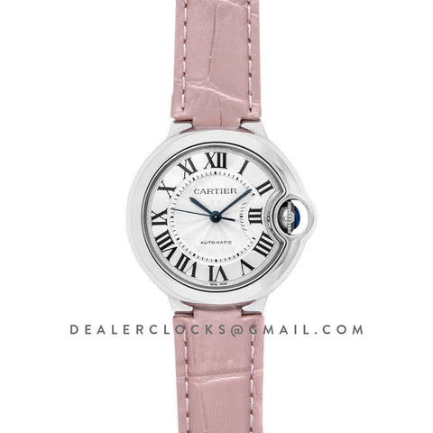 Ballon Bleu De Cartier 36mm Silver Dial in Steel on Pink Leather Strap
