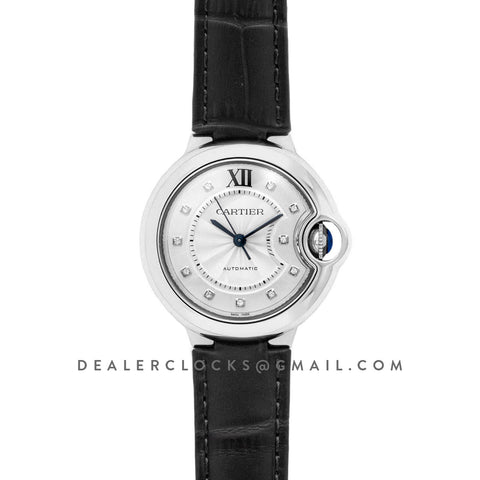Ballon Bleu De Cartier 33mm Silver Dial with Diamond Markers in Steel on Black Leather Strap