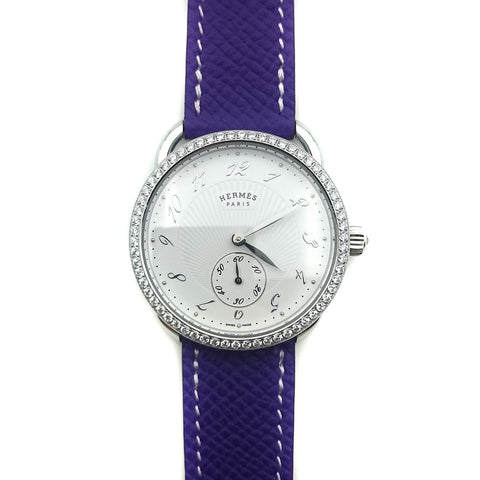 Arceau Petite Steel with Diamond Bezel on Purple Epsom Leather Strap