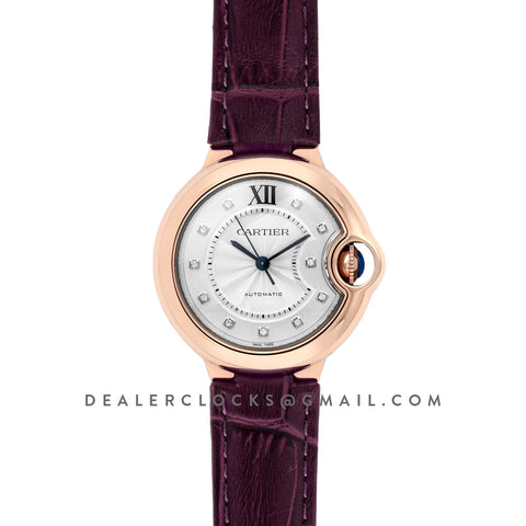 Ballon Bleu De Cartier 36mm White Dial with Diamond Markers in Pink Gold on Purple Leather Strap