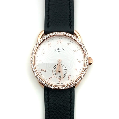 Arceau Petite Rose Gold with Diamond Bezel on Black Epsom Leather Strap