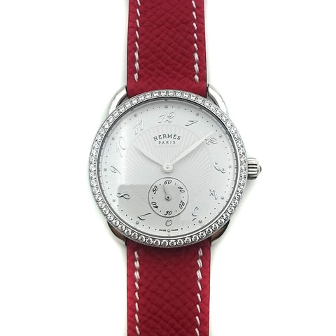Arceau Petite Steel with Diamond Bezel on Red Epsom Leather Strap