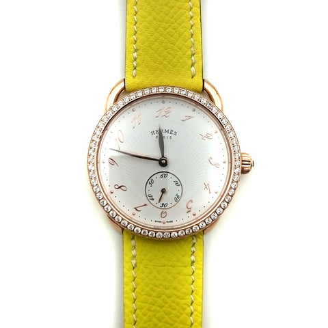 Arceau Petite Rose Gold with Diamond Bezel on Yellow Epsom Leather Strap