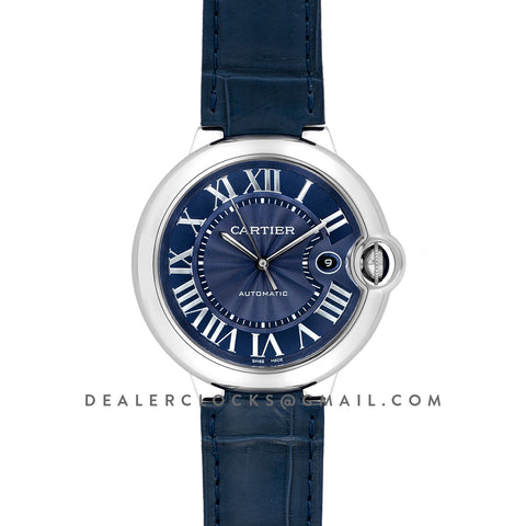 Ballon Bleu De Cartier 42mm Blue Dial in Steel on Blue Leather Strap