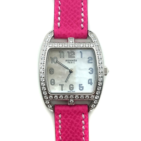 Cape Cod Tonneau Steel with Diamond Bezel on Pink Epsom Leather Strap