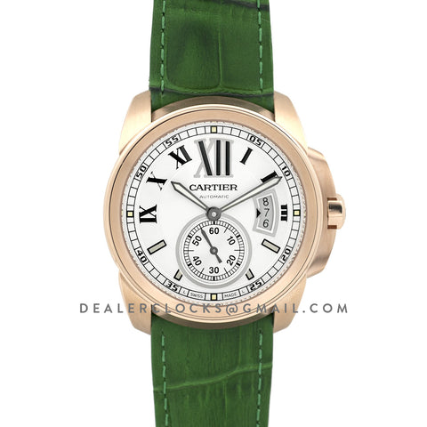 Calibre de Cartier  White Dial in Rose Gold on Green Leather Strap