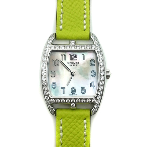 Cape Cod Tonneau Steel with Diamond Bezel on Green Epsom Leather Strap
