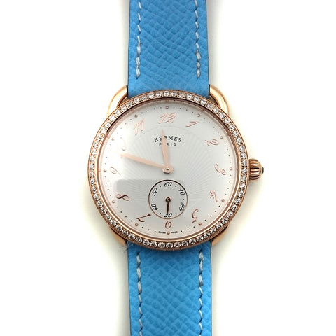 Arceau Petite Rose Gold with Diamond Bezel on Light Blue Epsom Leather Strap
