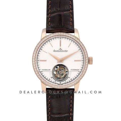 Master Grande Tradition Tourbillon Cylindrique with Diamond Bezel in Pink Gold on Brown Leather Strap