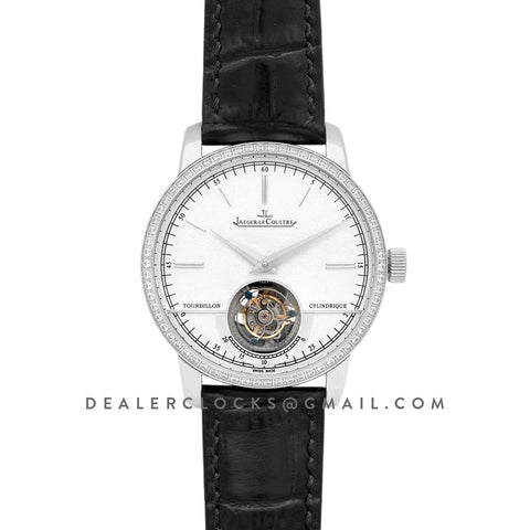 Master Grande Tradition Tourbillon Cylindrique with Diamond Bezel in Steel on Black Leather Strap