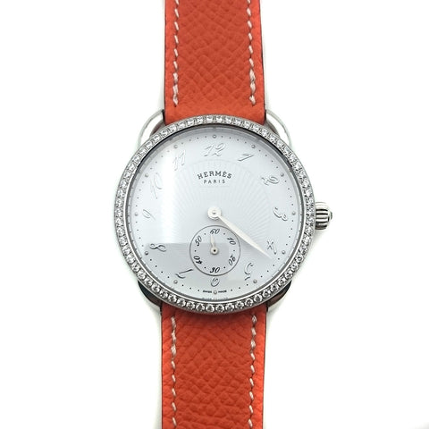 Arceau Petite Steel with Diamond Bezel on Orange Epsom Leather Strap