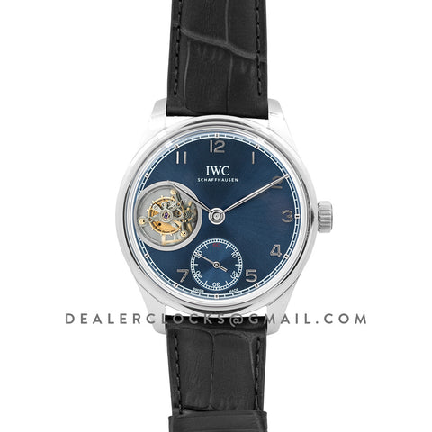 Portuguese Tourbillon Hand Wound IW5463 Blue Dial in White Gold