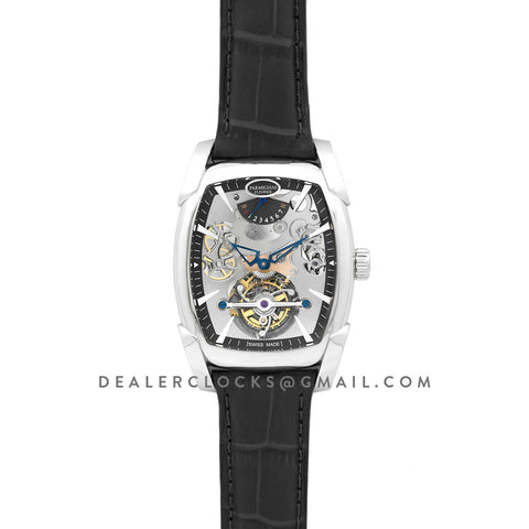 Kalpa Grande Tourbillon Silver Dial in Steel on Black Leather Strap