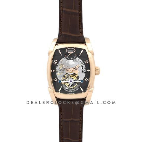 Kalpa XL Tourbillon Black Dial in Rose Gold on Brown Leather Strap