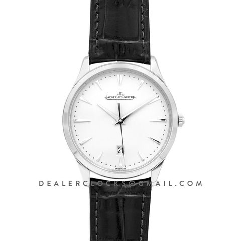 Master Ultra Thin Date 1288420 in Steel on Black Leather Strap