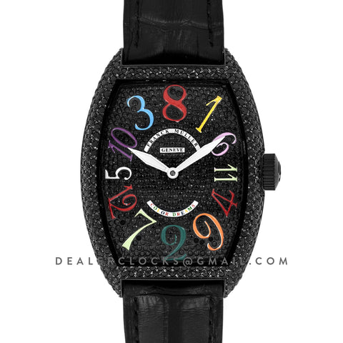 Crazy Hours Black Diamond Dial With Colourful Markers in PVD