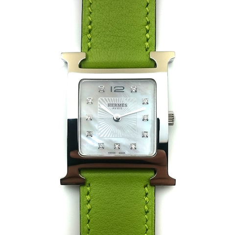 Heure H Steel with Diamond Markers on Green Fjord Leather Strap