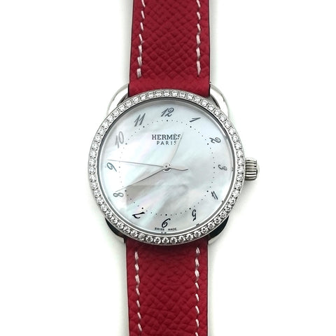 Arceau Steel with Diamond Bezel on Red Epsom Leather Strap