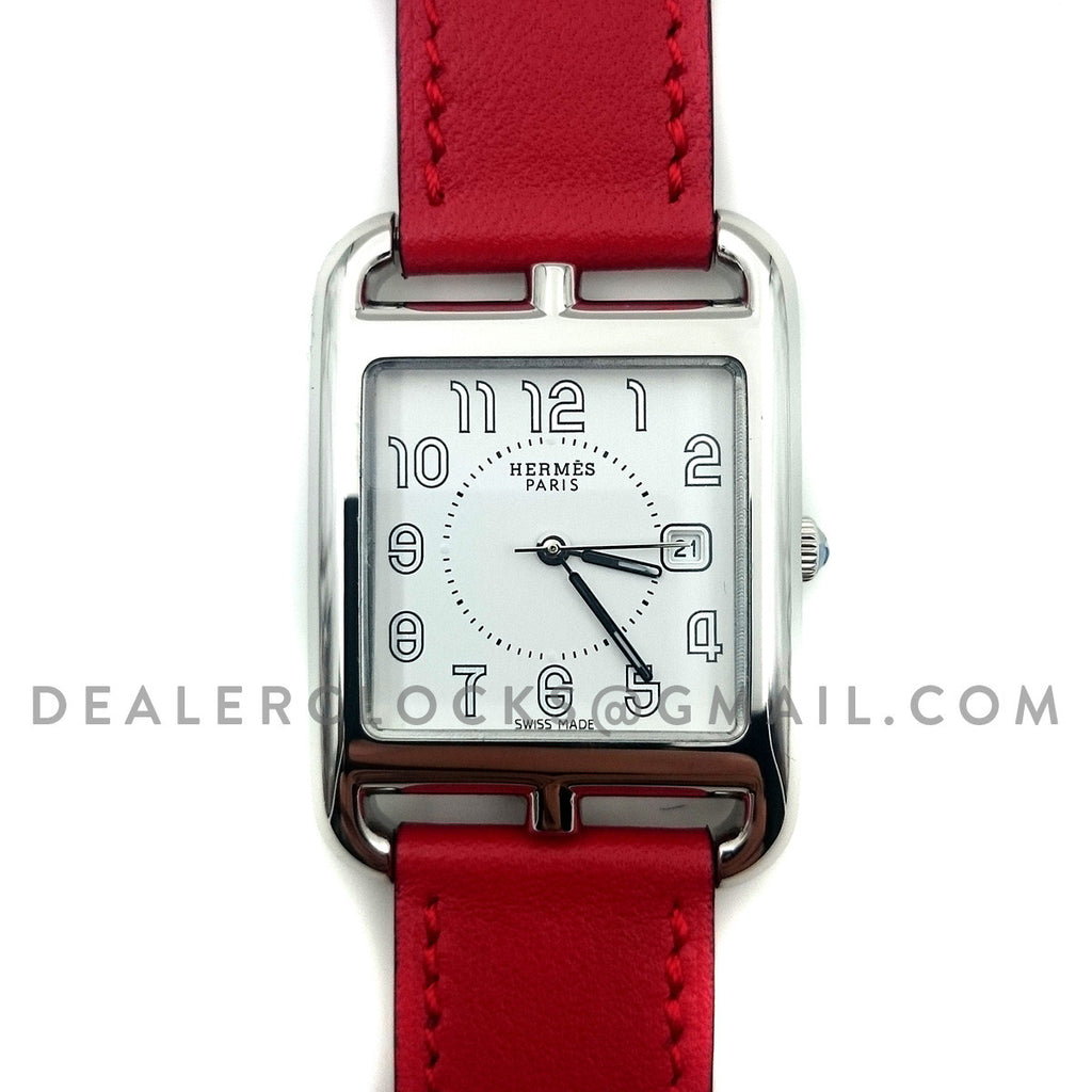 Cape Cod GM Quartz Steel on Red Fjord Leather Strap