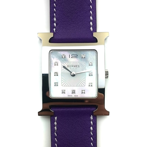 Heure H Steel with Diamond Markers on Violet Fjord Leather Strap