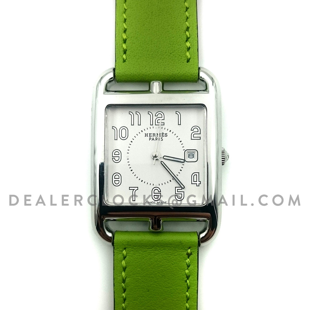 Cape Cod GM Quartz Steel on Green Fjord Leather Strap