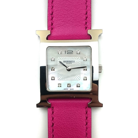 Heure H Steel with Diamond Markers on Pink Fjord Leather Strap