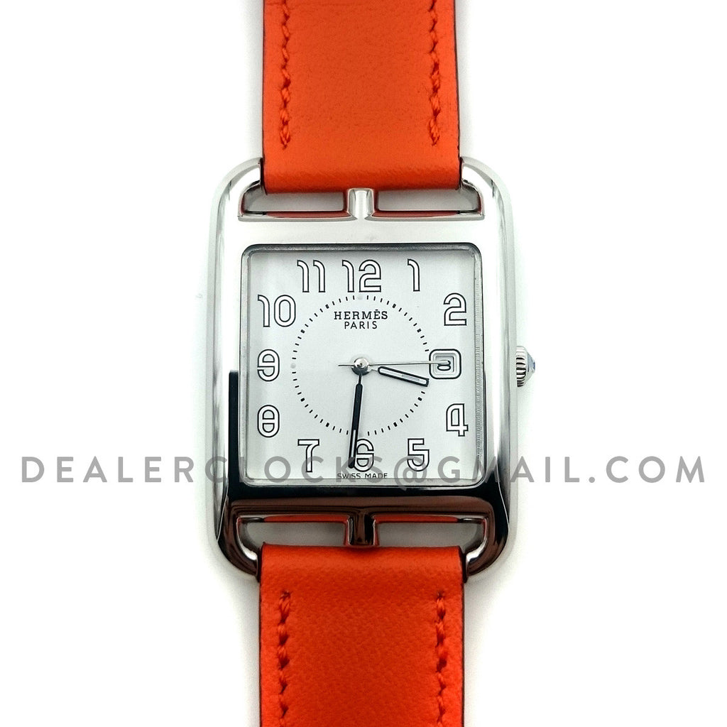 Cape Cod GM Quartz Steel on Orange Fjord Leather Strap