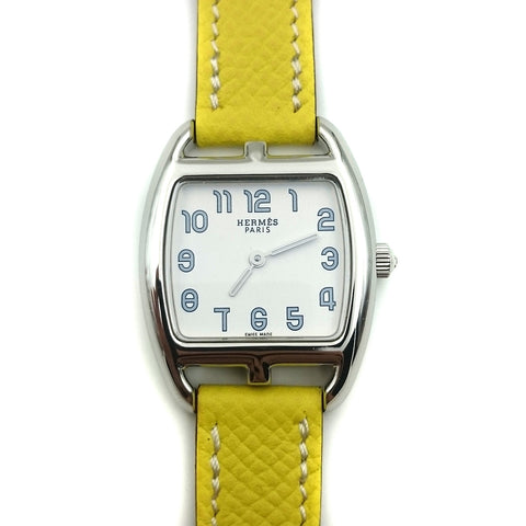 Cape Cod Tonneau Steel on Yellow Epsom Leather Strap