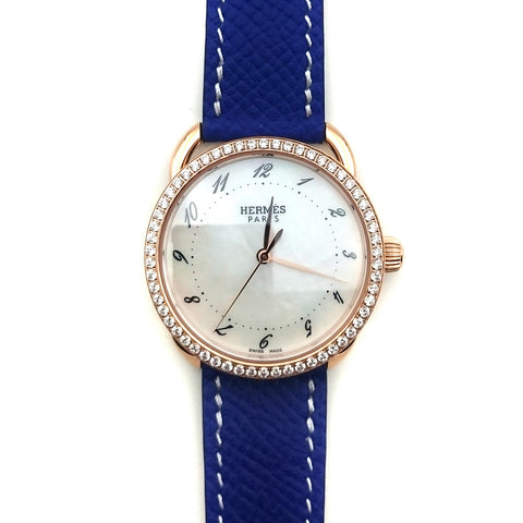 Arceau Rose Gold with Diamond Bezel on Blue Epsom Leather Strap