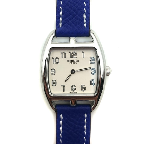 Cape Cod Tonneau Steel on Blue Epsom Leather Strap