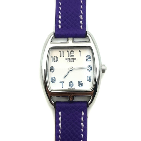 Cape Cod Tonneau Steel on Purple Epsom Leather Strap