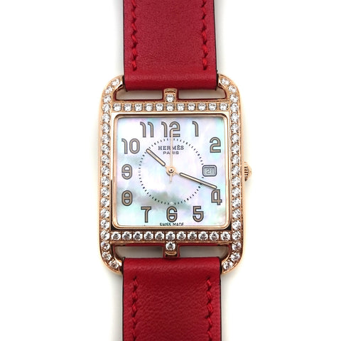 Cape Cod GM Quartz Rose Gold with Diamond Bezel on Red Fjord Leather Strap