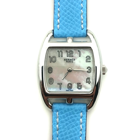 Cape Cod Tonneau Steel on Light Blue Epsom Leather Strap