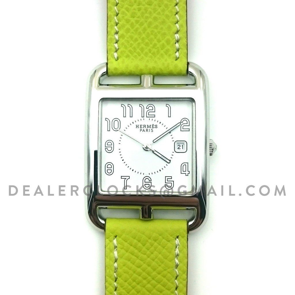 Cape Cod GM Quartz Steel on Green Epsom Leather Strap